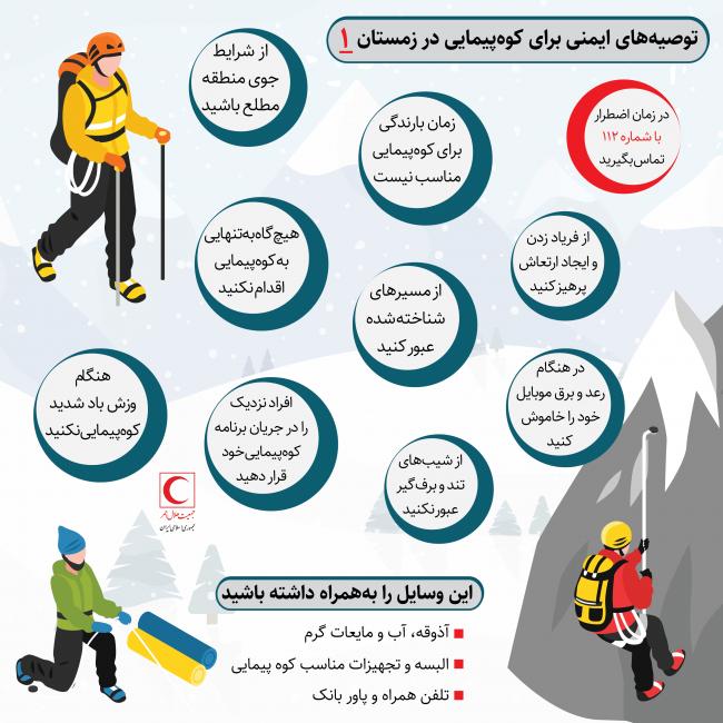 اینفوگرافیک توصیههای ایمنی برای کوهپیمایی در زمستان