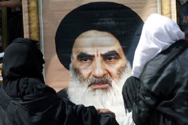 ناآرامی های عراق عکس آیت الله العظمی سیستانی