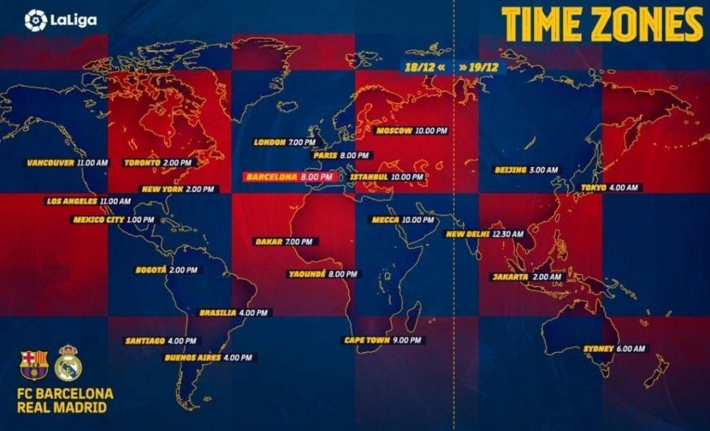 زمان برگزاری دیدار حساس بارسلونا مقابل رئال مادرید در نقاط مختلف جهان