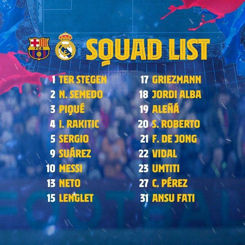 لیست بازیکنان بارسلونا برای بازی مقابل رئال مادرید اعلام شد.
